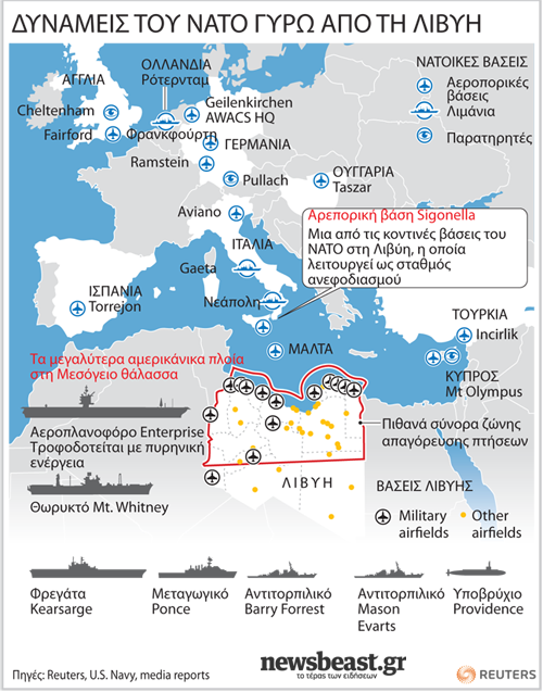 Οι δυνάμεις του ΝΑΤΟ γύρω από τη Λιβύη