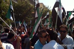 Συγκέντρωση Σύρων στη πλατεία Κοτζιά