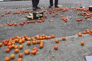 Γέμισε ο δρόμος ντομάτες