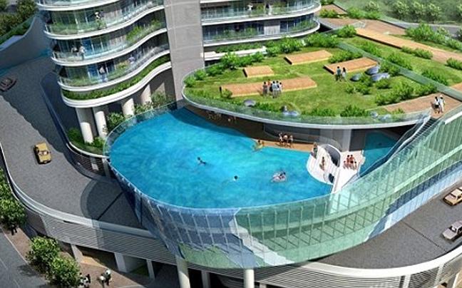 Tv telga: predio inova e troca sacada por piscina na india.