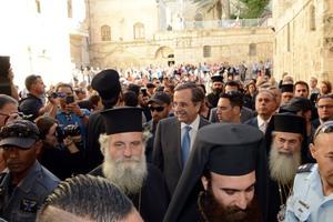 Με ιδιαίτερες τιμές υποδέχθηκε τον πρωθυπουργό ο Πατριάρχης Ιεροσολύμων