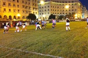 Σε γήπεδο ράγκμπι μετατράπηκε η πλατεία Αριστοτέλους