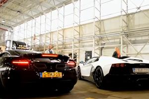 Μάχη φωτιάς μεταξύ McLaren 12C και Lamborghini Aventador