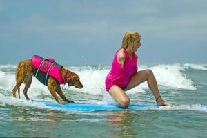 Σκυλίτσα σερφάρει μαζί με ανθρώπους με κινητικά προβλήματα