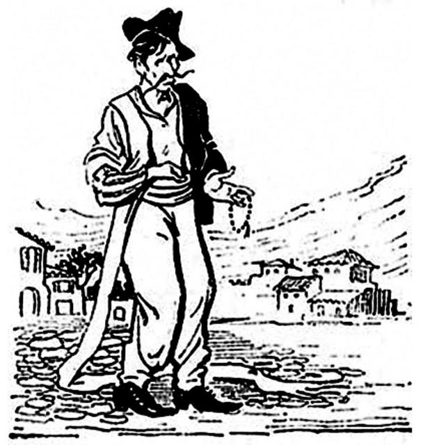 Απεικονίζεται σε σκίτσο ένας άντρας που στο χέρι του κρατάει κομπολόι και η άκρη του ζωναριού του σέρνεται κάτω