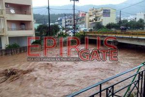 Πλημμύρες στα Ιωάννινα από τη δυνατή νεροποντή