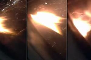Επιβάτης κατέγραψε τη φλεγόμενη μηχανή αεροπλάνου