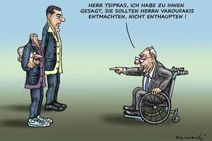 Γερμανικό σκίτσο δείχνει αποκεφαλισμένο το Βαρουφάκη