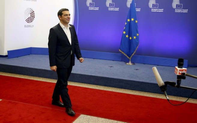 "Greek Prime Minister Alexis Tsipras leaves the European Commission after a meeting ahead of a Eurozone emergency summit on Greece in Brussels, Belgium early June 23, 2015. A new Greek offer for a cash-for-reforms deal raised hopes of an agreement as euro zone leaders prepared for an emergency summit on Monday, with EU officials welcoming the proposals as a ""good basis for progress"" to avert a default by Athens. REUTERS/Charles Platiau"