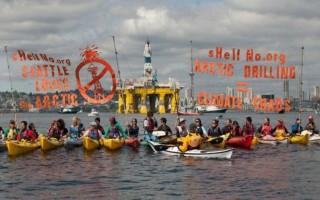 Ακτιβιστές απέκλεισαν με καγιάκ εξέδρα άντλησης πετρελαίου της Shell