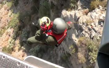 Επιχείρηση διάσωσης τραυματισμένης γυναίκας σε φαράγγι της Κρήτης