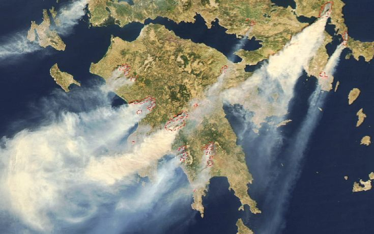 Το Εθνικό Αστεροσκοπείο Αθηνών παρακολουθεί δορυφορικά τις πυρκαγιές στον ελλαδικό χώρο