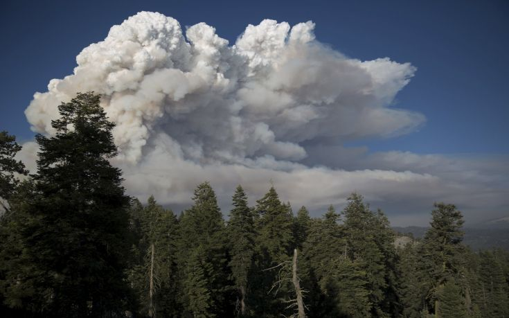 """Smoke plumes rise from the so-called """"Rough Fire"""" in the Sierra National Forest, California"""