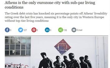 Η Telegraph γράφει για την «κάτω από τα στάνταρντ» ζωή στην Αθήνα