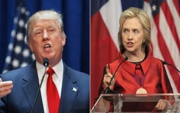 Νίκη με οριακή διαφορά για Τραμπ και Κλίντον