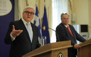Την ανάγκη ανοικοδόμησης καλών σχέσεων Ελλάδας-Γερμανίας επεσήμαναν Κοτζιάς-Σταϊνμάγερ