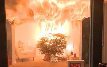Χριστουγεννιάτικο δέντρο τυλίγεται στις φλόγες σε 10 δευτερόλεπτα