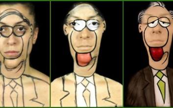 Η make up artist που μεταμορφώνεται σε σκίτσα του Αρκά