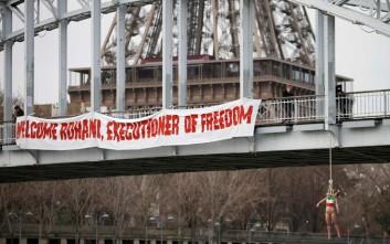 Ακτιβίστρια των Femen «απαγχονίζεται» για την υποδοχή Ροχανί