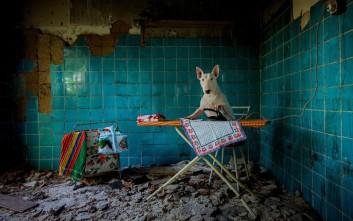 Ένα τετράποδο μοντέλο σε εγκαταλελειμμένα κτίρια