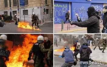 Φωτογραφίες από τα επεισόδια στο κέντρο της Αθήνας