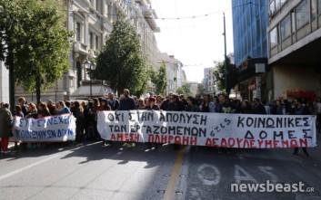 Πορεία συμβασιούχων από το Εργασίας στα γραφεία του ΣΥΡΙΖΑ