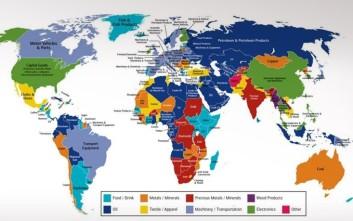 Ο παγκόσμιος χάρτης των εξαγωγών