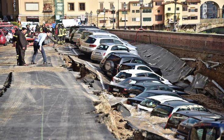 Υποχώρησε τμήμα δρόμου στη Φλωρεντία
