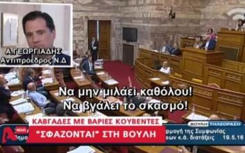 Άγρια κόντρα στη Βουλή με Γεωργιάδη - Τσακαλώτο και βουλευτές του ΣΥΡΙΖΑ