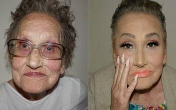 Η απίστευτη μεταμόρφωση μιας 80χρονης με τη βοήθεια μέικ-απ