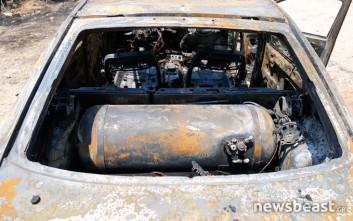 Με υγραέριο δούλευε το αυτοκίνητο που κάηκε στη Βάρκιζα