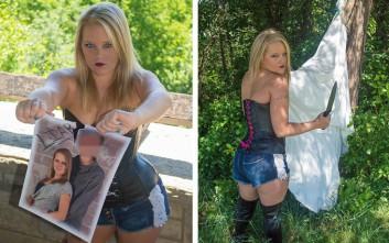 Καίει φωτογραφίες και σκίζει το νυφικό της για να γιορτάσει το διαζύγιο