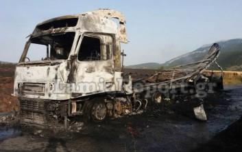 Νταλίκα τυλίχτηκε στις φλόγες στην παλαιά εθνική Λαμίας - Λιβαδειάς