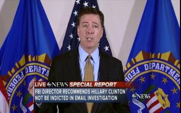 Απαλλαγή της Κλίντον για την υπόθεση των e-mail προτείνει το FBI
