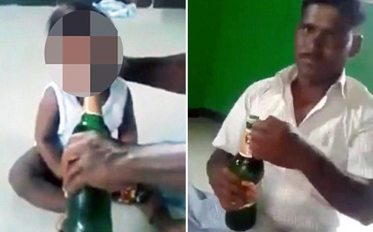 Πατέρας δίνει στο 10 μηνών μωρό του να πιει μπίρα και γελάει