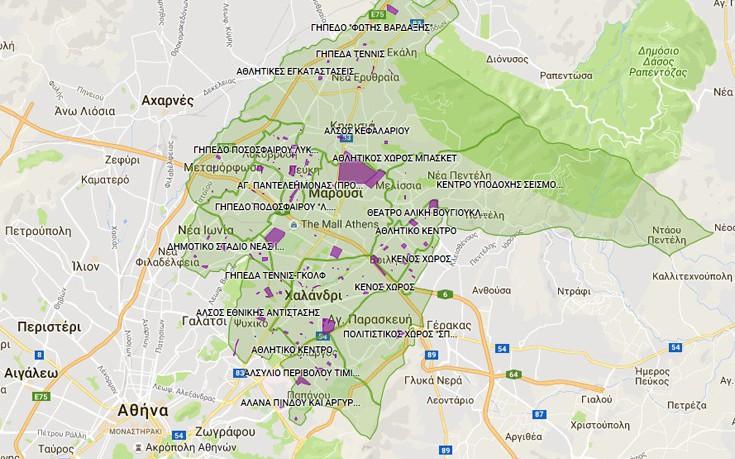 Ο χάρτης με τους χώρους καταφυγής και συνάθροισης σε έκτακτες ανάγκες