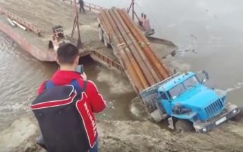 Ρώσοι οδηγοί φορτηγών δεν υπολογίζουν σωστά και φέρνουν την καταστροφή