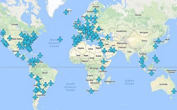 Χάρτης με τους κωδικούς wi-fi στα αεροδρόμια του κόσμου