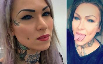 Η τατουατζού με τη γλώσσα φιδιού που κινδυνεύει να τυφλωθεί