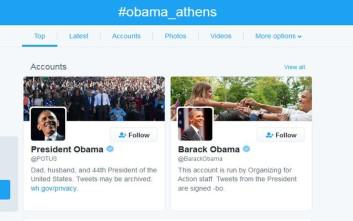 Στην πρώτη θέση των trends το #obama_athens