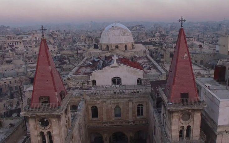 Εντυπωσιακά εναέρια πλάνα από τον βομβαρδισμένο καθεδρικό ναό στο Χαλέπι