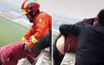 Η δραματική στιγμή που πυροσβέστης σώζει νεαρό από βέβαιο θάνατο