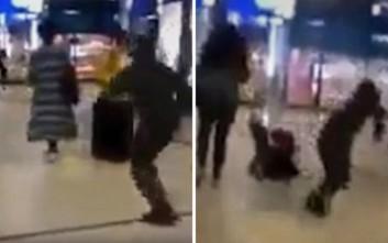 Νέο βίντεο με άντρα που κλωτσά γυναίκα στην πλάτη σε εμπορικό κέντρο