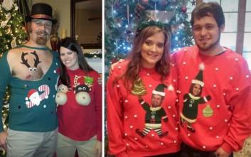 05920310d1d1 Τα πιο άσχημα χριστουγεννιάτικα πουλόβερ για ζευγάρια – Newsbeast