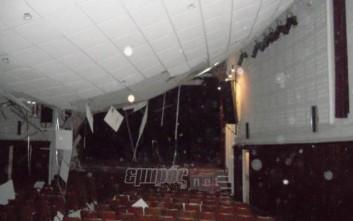 Κατέρρευσε στέγη θεάτρου από τα χιόνια στη Μυτιλήνη