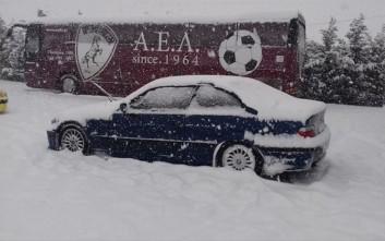 Το χιόνι ματαίωσε την προπόνηση της ΑΕΛ