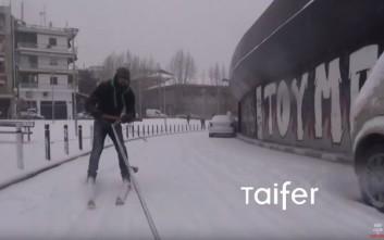 Θεοπάλαβος ΠΑΟΚτζής κάνει σκι έξω από την Τούμπα