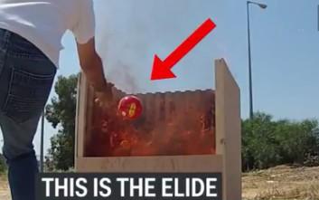 Η μπάλα που εκρήγνυται και σβήνει αμέσως τη φωτιά