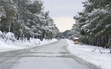 Χιονίζει από το πρωί στο νομό Τρικάλων