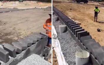 Αυτός είναι ο πιο εντυπωσιακός τρόπος για να τοποθετείς τούβλα